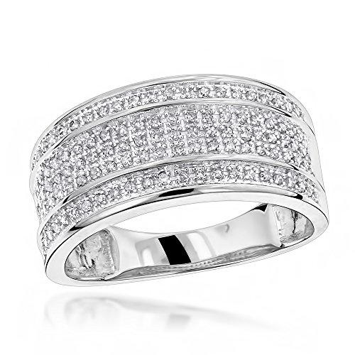 Luxurman Unique Wedding Bands 10K Five Row Natural 0.4 Ctw Diamond Ring For Men (White Gold Size 10) by Luxurman