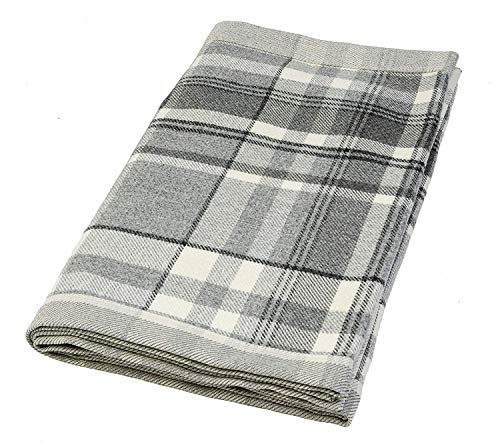 McAlister Textiles Heritage | Decorative Table Runner in Charcoal Gray | 14 x 48 Inches | Plush Wool-Textured Flannel Buffalo Plaid | Tartan Check Farmhouse Cabin Accent Décor