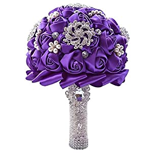Wedding Bouquets for Bride, Amoleya 7.8 Inch Handmade Bridal Bouquet Bridesmaid Bouquet of Satin Flower Roses with Bling Rhinestones(Purple) 71