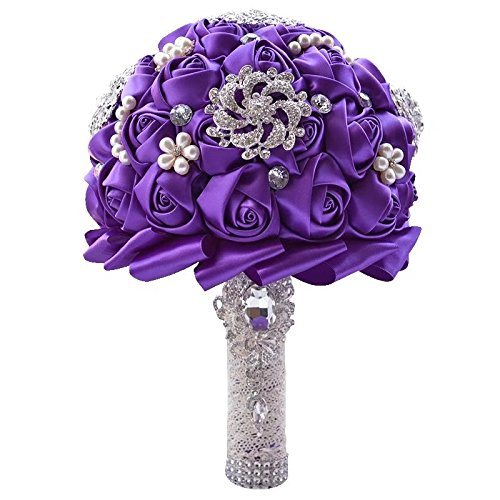 Wedding Bouquets for Bride, Amoleya 7.8 Inch Handmade Bridal Bouquet Bridesmaid Bouquet of Satin Flower Roses with Bling Rhinestones(Purple)