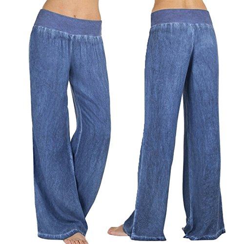 SERYU Women Casual High Waist Elasticity Denim Wide Leg Palazzo Pants Jeans Trousers ()