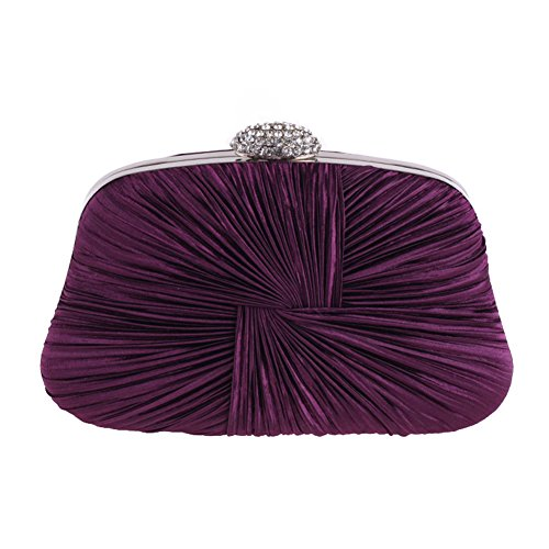 Wedding Evening Bag Pleated Elegant Stylish Bag Handbag Purple Women Single Party Clutch Shoulder YZqwxf