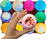 Luna Love Naturals 12 Extra Large 5 Ounce Vegan Bath Bombs with Organic Coconut Oil, Individually Wrapped, Handcrafted in the USA