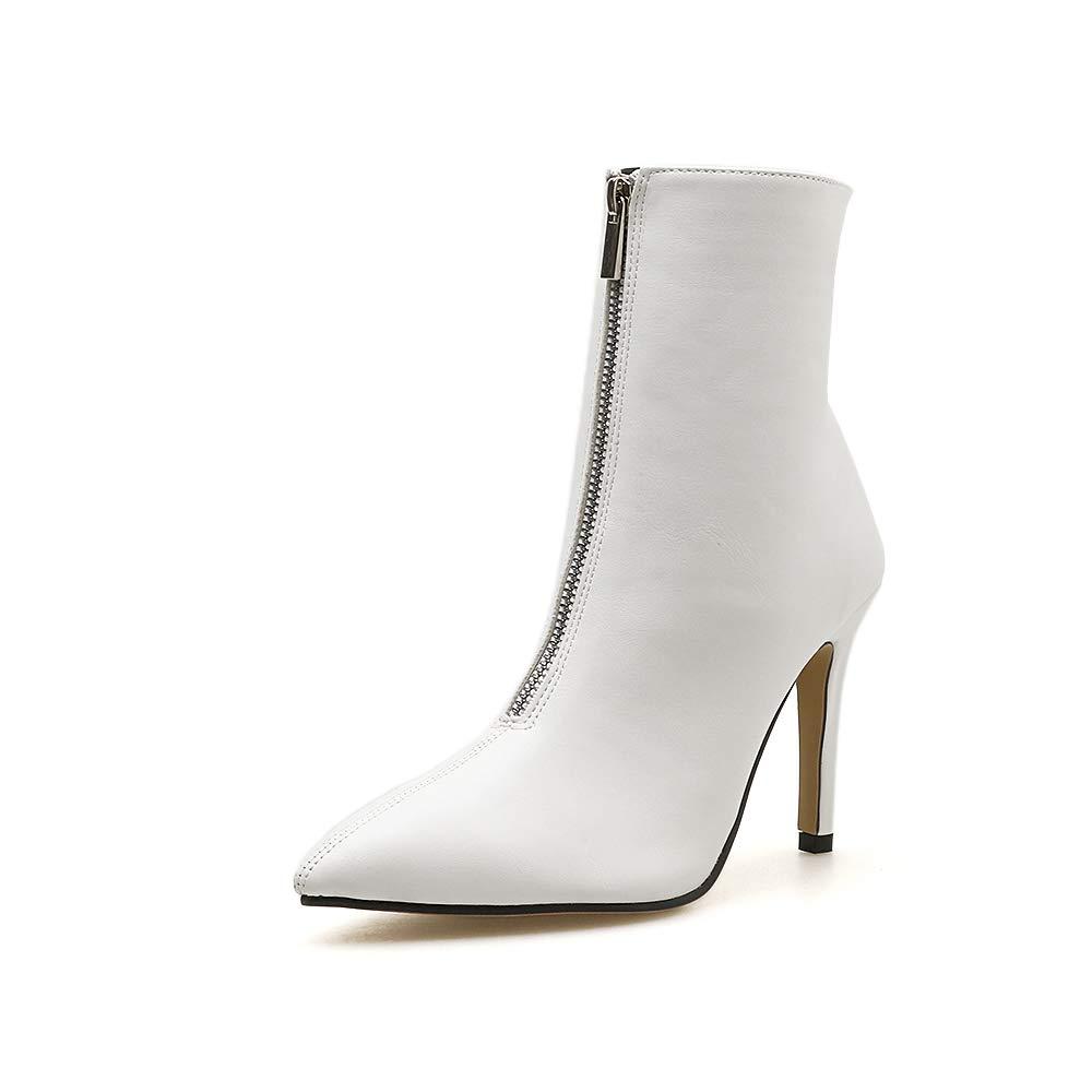 Fengjingyuan Polyvalentes, Bottes Pour Damenschuhes, Talons Aiguilles, Chaussures Pointues, Chaussures Polyvalentes, Fengjingyuan Bottillons,Weiß,36 - 5dd2b4