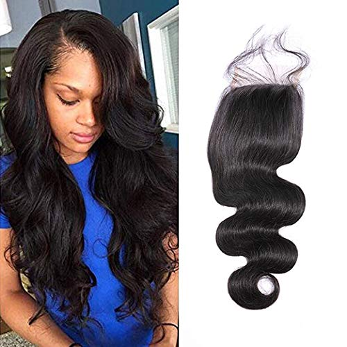 ISEE Hair Brazilian Body Wave Top Closure Unprocessed Human Hair Lace Closure Bleached Knots Free Part Closure Natural Black