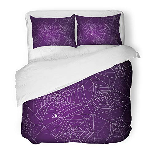Emvency Decor Duvet Cover Set King Size Halloween of Scary Spider Webs Cobweb Crawl 3 Piece Brushed Microfiber Fabric Print Bedding Set Cover]()