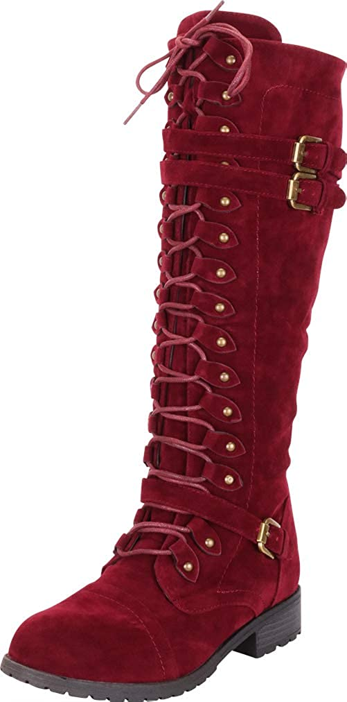 Dark Burgundy Imsu Cambridge Select Women's Lace-Up Strappy Knee High Combat Stacked Heel Boot