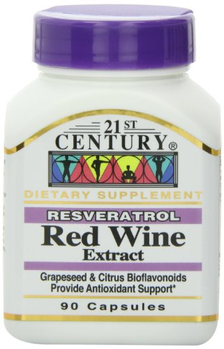21st Century Resveratrol Red Wine Extract Capsules, 90 Count Red Wine Antioxidant
