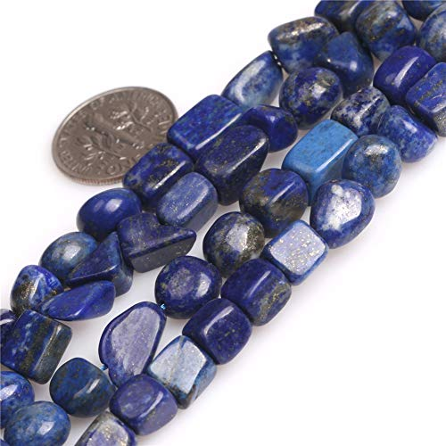 JOE FOREMAN Blue Lapis Lazuli Freeform Nugget Gemstone Beads for Jewelry Making Strand 15