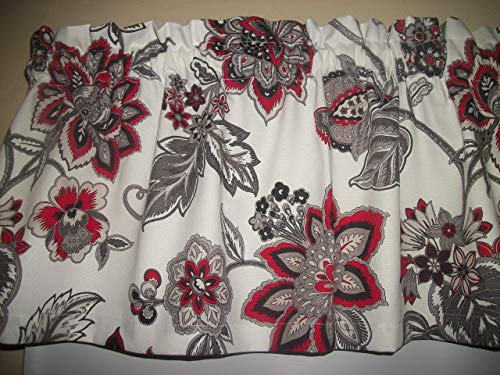 Red Black Gray retro Flower Boho Jacobean Waverly Cotton Fabric decor kitchen livingroom diningroom bedroom window curtain topper ()