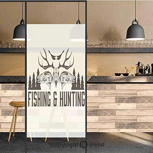 - 3D Decorative Privacy Window Films,Hunting and Fishing Vintage Emblem Design Antler Horns Mallard Pine Tree,No-Glue Self Static Cling Glass Film for Home Bedroom Bathroom Kitchen Office 24x36 Inch