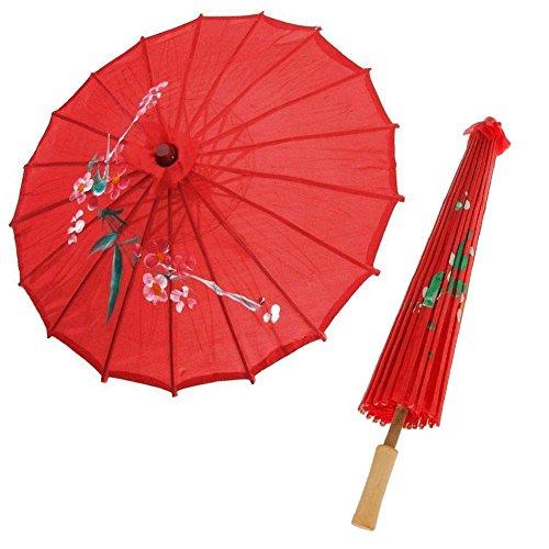 Gracefulvara Red Cloth Flower Print Oil Paper Umbrella Chinese Bamboo Oriental Umbrella
