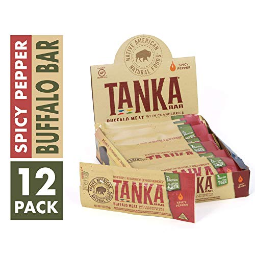 Bison Pemmican Meat Bars with Buffalo & Cranberries by Tanka, Gluten Free, Beef Jerky Alternative, Spicy Pepper, 1 Oz, Pack of 12