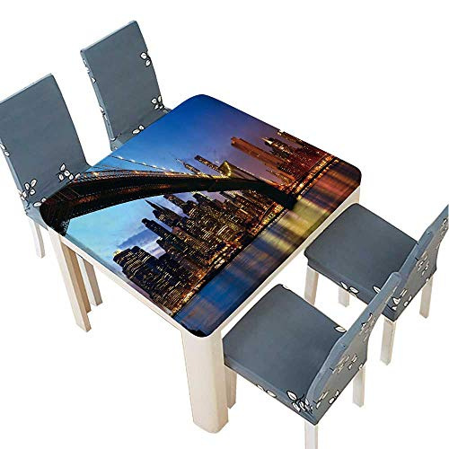 PINAFORE Spillproof Fabric Tablecloth Lower Manhattan Skyline Panorama with Brooklyn Bridge at Sunset in New York City Kitchen Decoration Washable 41 x 41 INCH (Elastic Edge) -