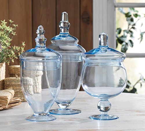 Classic Home Glass Blue Apothecary Jars, Wedding Candy Buffet Containers (Set of 3)]()