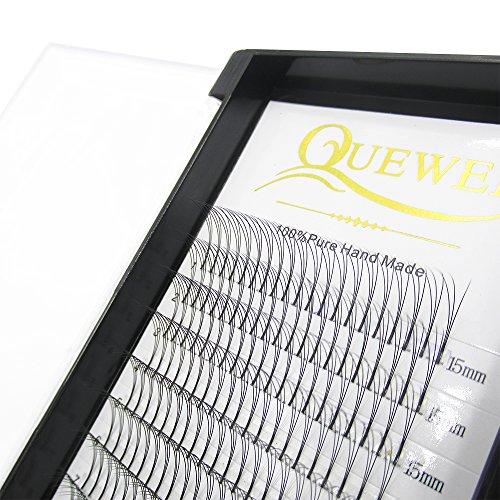 Quewel Lash Russian Volume Eyelash Extensions 3D 5D C D Curl 8-15mm Long Thickness 0.07/0.10 mm Premade Fans Volume Eyelashes Soft (3D-0.10-C, 15mm)