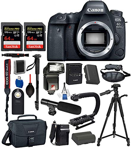 Canon EOS 6D Mark ii Full Frame DSLR Camera Body Only USA (Black) 19PC Professional Accessory Bundle Package Deal - Includes SanDisk Extreme Pro 64gb SD Card + Extended Battery (LP-E6) + More