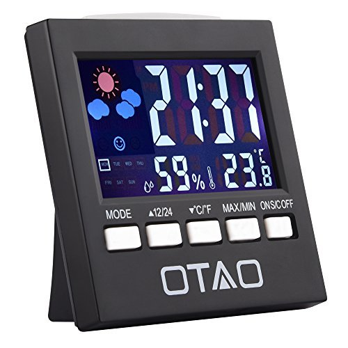 Otao Humidity Meter Color Digital LCD Screen Multifunctional Hygrometer Temperature Humidity Gauge Indoor Humidity Monitor Sensor Room Thermometer with Alarm Clock/Thermometer/Voice Control Backlit