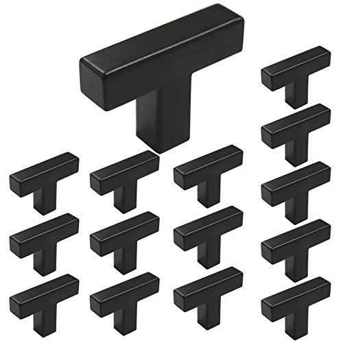 Homdiy Black Square Cabinet Pull Knobs 2in Length -HDJ12BK 12x12mm Modern Stainless Steel Kitchen Cabinet Door Handles 15 Pack (12mm Knob)