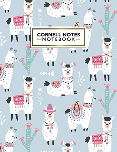 Cornell Notes Notebook: Pretty Cornell Note Paper Notebook. Cute Large College Ruled Medium Lined Journal Note Taking System for School and University - Peruvian Alpaca & Cactus Llama ()