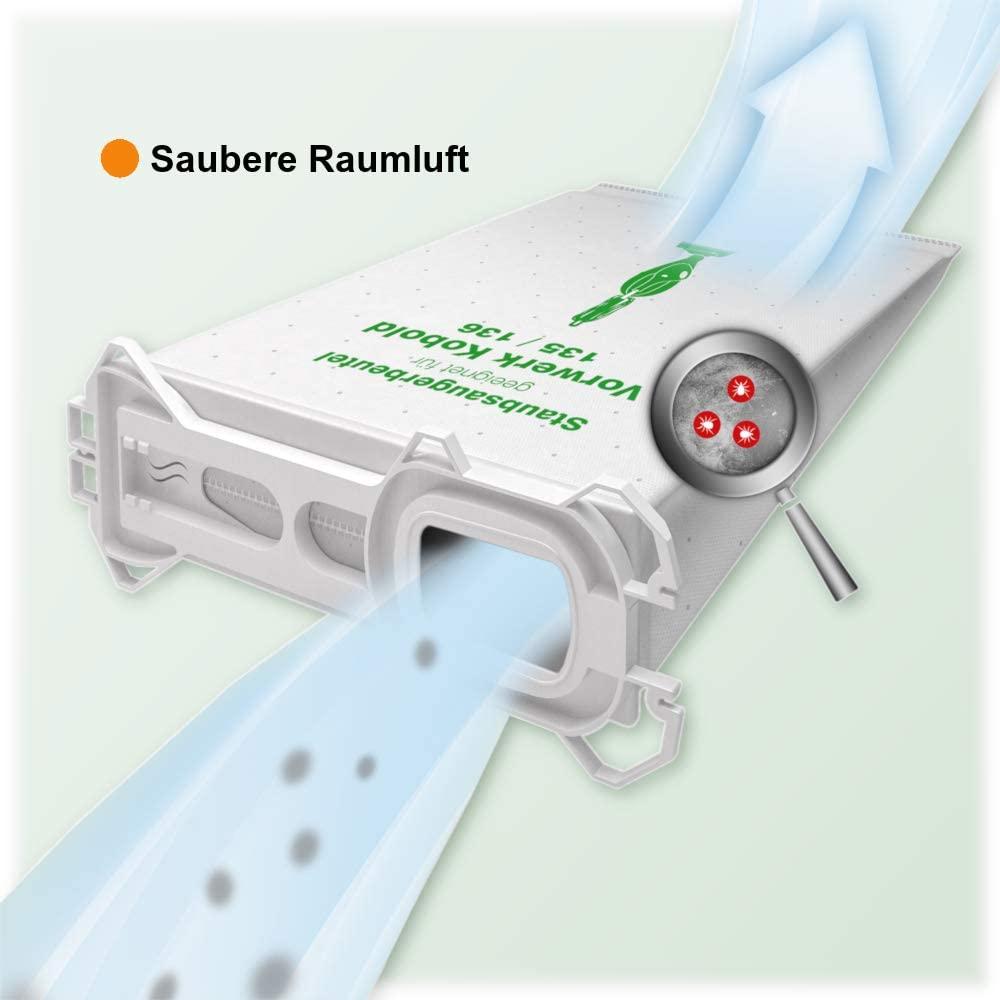 MohMus 6 Microfibra Sacchetti per Aspirapolvere Vorwerk Folletto Kobold VK 135 VK136 136 VK135