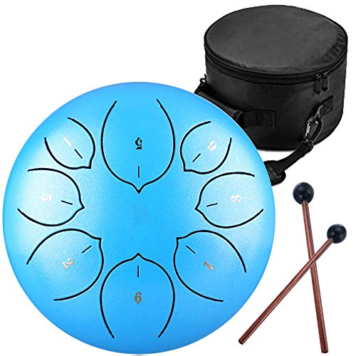 Steel Tongue Drum – 8 Notes 8 inches – Percussion Instrument -Handpan Drum with Bag, Music Book, Mallets, Finger Picks