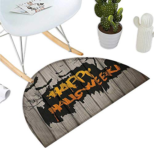 Halloween Semicircular Cushion Happy Graffiti Style Lettering on Rustic Wooden Fence Scary Evil Holiday Artwork Entry Door Mat H 19.7