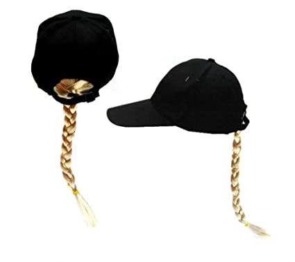 Amazon.com  Joke Novelty Baseball Hat with Long Blonde Braided ... 275c70b265f