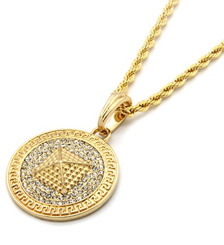 Mens Gold Tone Medallion Pattern Pyramid Clear Cz Greek 24