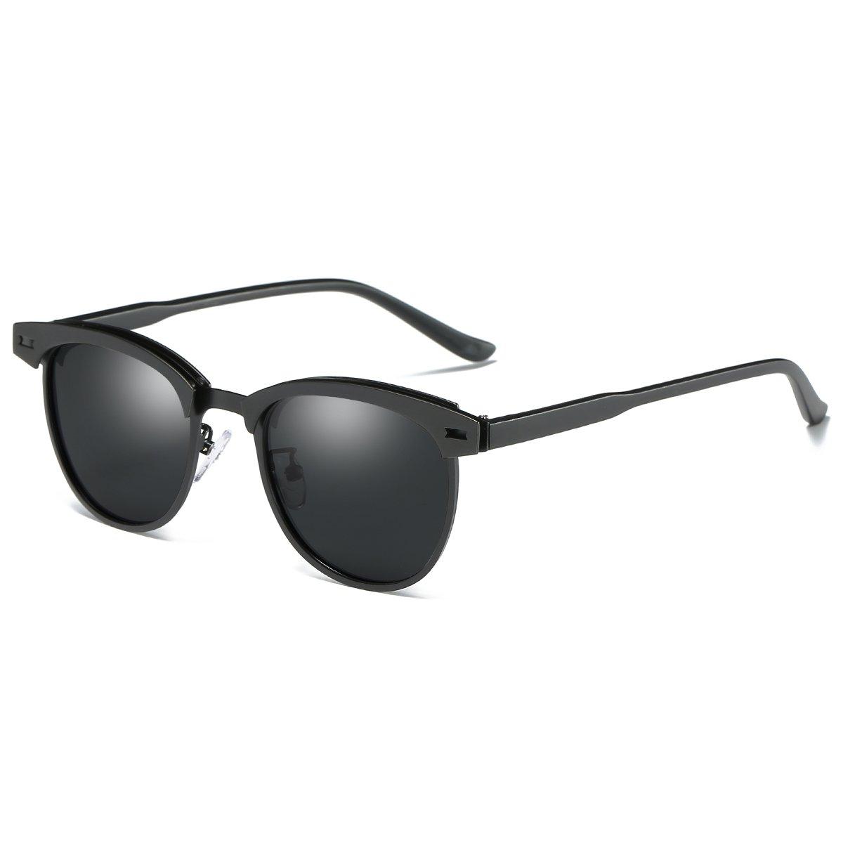 8adcff1689653 Amazon.com  Semi Rimless Polarized Sunglasses for Men Classic Metal Retro  Rivets Women Sun Glasses with Case (Black Grey)  Clothing