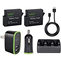 HSU Rechargeable Battery (3 packs) and Triple Battery Charger for GoPro HERO 5 Black with USB Cable (Rechargeable Battery 2 packs with Car Charger)