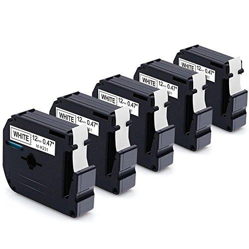 MarkDomain 5 Pack M231 M-231 MK231 M-K231 Compatible with Brother Black on White 12mm(0.47) x 8m M Tape M-K231BZ for P-Touch Label Maker Model PT-90 PT-M95 PT-65 PT-70 PT-70BM PT-70SR PT-80