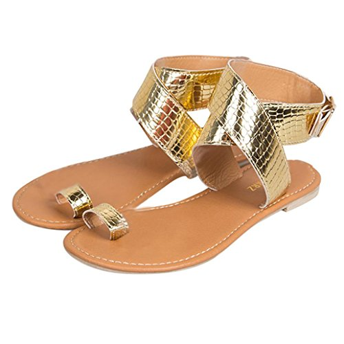 Han Shi Dress Sandals, Women Fashion Cross Belt Strappy Gladiator Low Flat Flip Flops (Gold, 7.5)