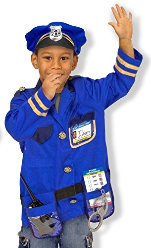 Melissa & Doug Police Officer Role Play Costume Set, Ages 3-6 (Dress Up Costumes For Kids)