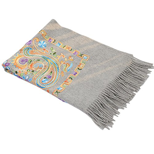 TLH Women's Exotic Design 100% Wool Delicate Embroidered Soft Scarf Wrap Shawl Grey