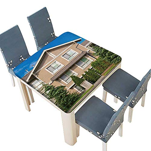 PINAFORE Indoor/Outdoor Spillproof Tablecloth Luxury House in Vancouver,Canada Wedding Restaurant Party Decoration 65 x 65 INCH (Elastic Edge)]()