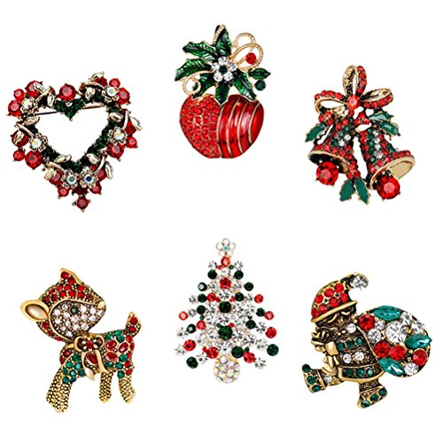 Crystal Rhinestone Christmas Tree Pin - JUNKE Diamond-Bordered Christmas Tree/Jingle Bells/Sika Deer/Wreath/Apple/Santa Brooch Crystal Rhinestone Pin Badge Brooches Xmas Gifts Christmas ornaments