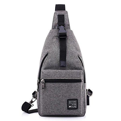 Zxj Versatile Backpack Chest Pack Men And Women Running Oxford Cloth Walk On Foot Rock Climbing Bag Shoulder Movement Chest Pack Messenger Bag, Dark Gray Dark Gray