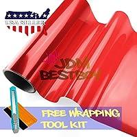 "Free Tool Kit 12""x12"" (1FT x 1FT) Glossy Red Tint Headlight Fog Lights Taillight Smoke Vinyl Film Self Adhesive"