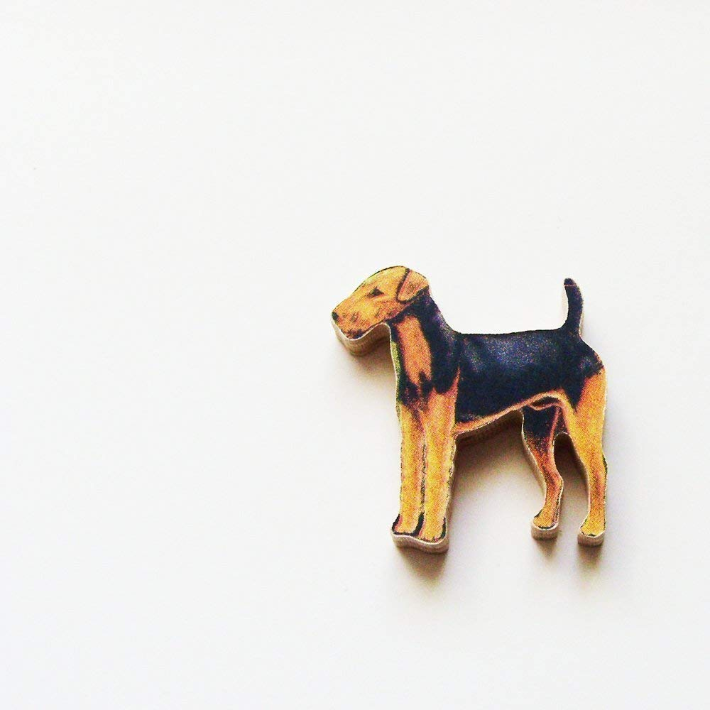 ME2Designs Upcycled Hand Cut Wood Jewelry Pin 1960s Airedale Terrier Dog Brooch