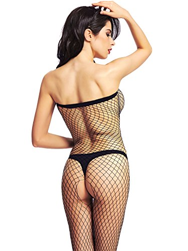 697a528ede Amoretu Womens Long Sleeve Fishnet Bodystocking Crotchless Classic Body  Stockings · Amoretu Womens Strapless Lingerie Fence Net Crotchless  Bodystocking
