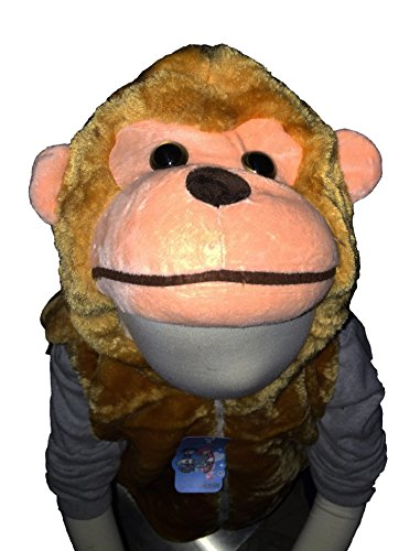 Fashion Vest with Animal Hoodie for Kids - Dress Up Costume - Monkey (Small) -