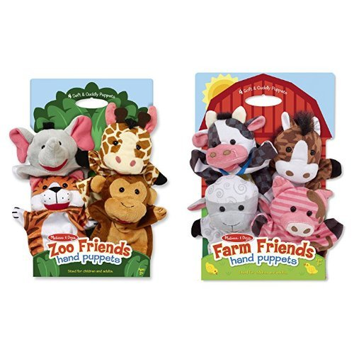 Melissa & Doug Zoo Friends Hand Puppets and - Farm Animal Hand Puppets