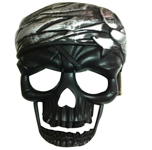 Hot Sale Black Halloween Party Dressed up COS Lunge Terrorist Silver Skull Masks -