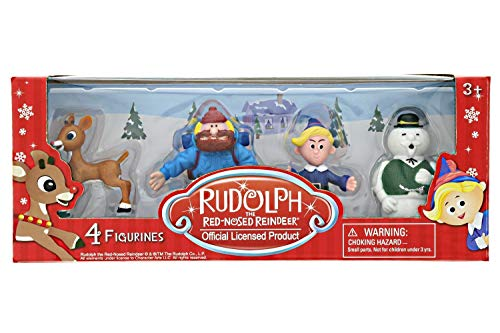 "Rudolph the Red-Nosed Reindeer Playset - Rudolph Figurine Set, 4 Piece Mini 2"" Figures of Rudolph, Yukon Cornelius, Hermey & Sam the Snowman - Ideal for Holiday Decorating, Cake Toppers & Playtime"