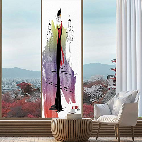 YOLIYANA Privacy Window Film Decorative,Fashion House Decor,for Glass Non-Adhesive,Girl with Red Shawl Street Lights Sixties Trends,24''x78''
