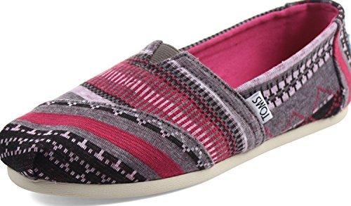 TOMS Women's Classics Fuchsia Tribal Jersey Loafer