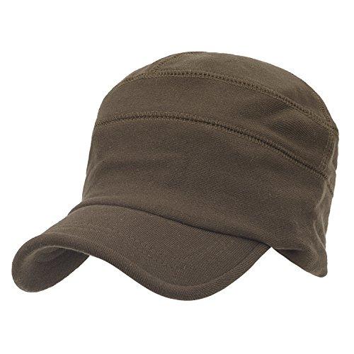 ililily Solid Color Cotton Casual Flex Fit Slouchy Work Cap Soft Hat Brown