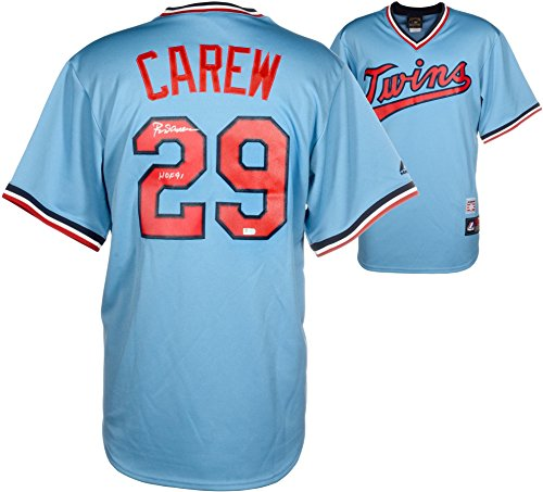 Rod Carew Minnesota Twins Autographed Majestic Cooperstown Powder Blue Replica Jersey with