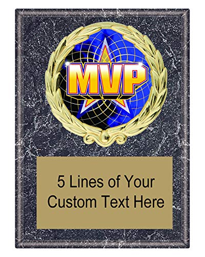 (Express Medals 5x7 Black Marble Color MVP Most Valuable Player Plaque Award Trophy with Engraved Plate FCL518)